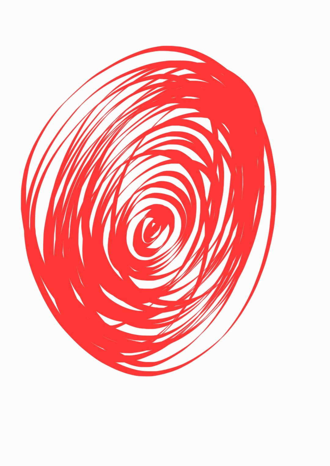 A doodle showing a jumble of concentric oval shapes in red against a white background