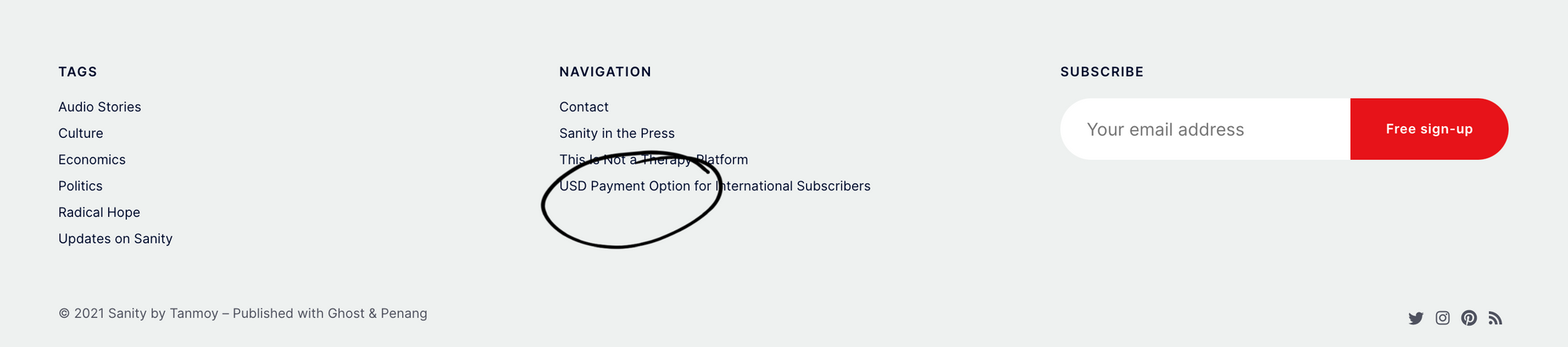 Screenshot of the site footer showing USD payment option for international subscribers.